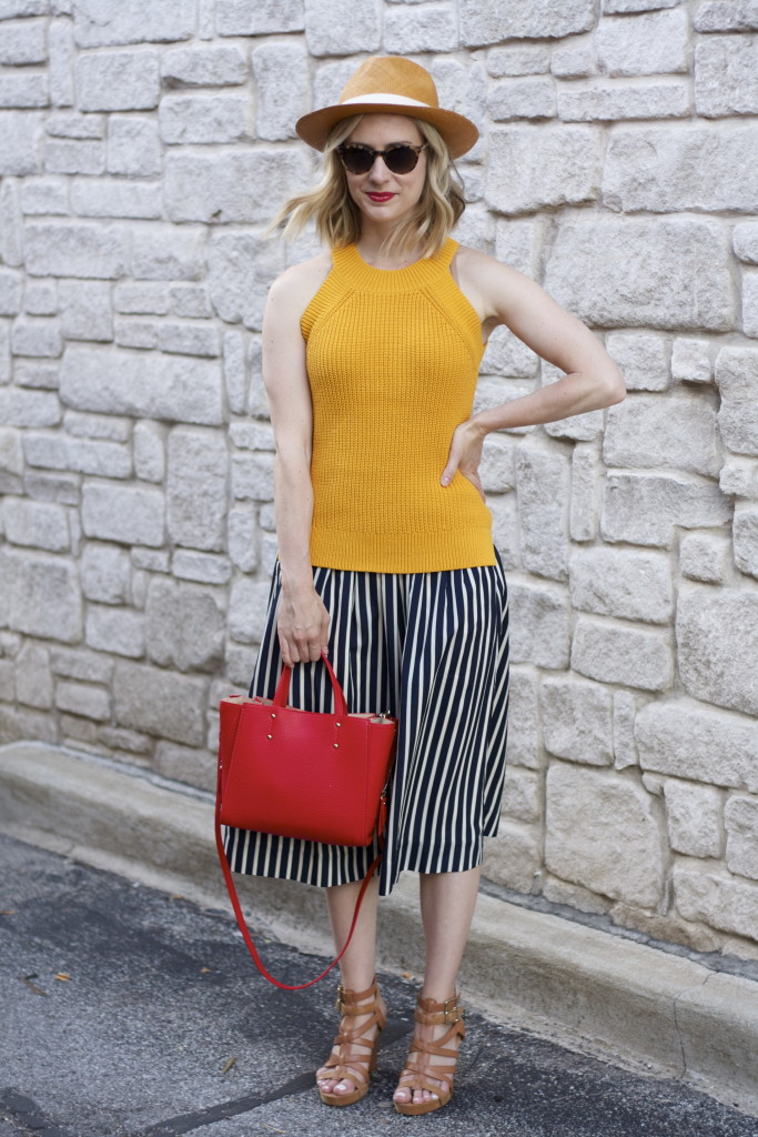 yellow halter sweater, j.crew stripe midi skirt, panama hat, broad ripple blogger