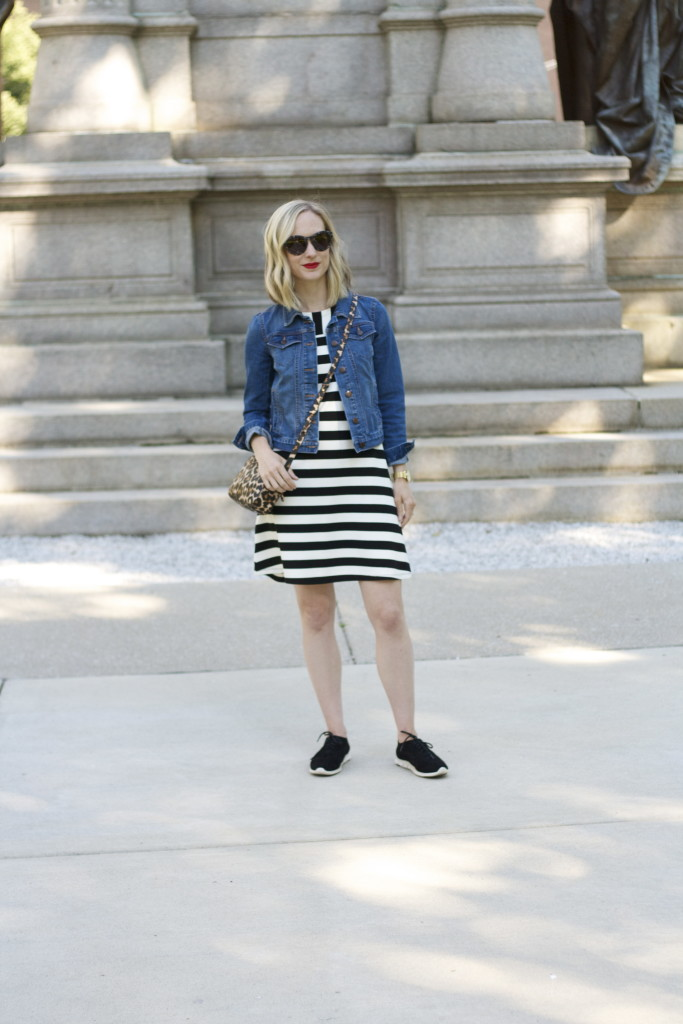Loft stripe swing dress, jean jacket, Cole Haan Zero Grand sneakers, Cluse gold watch