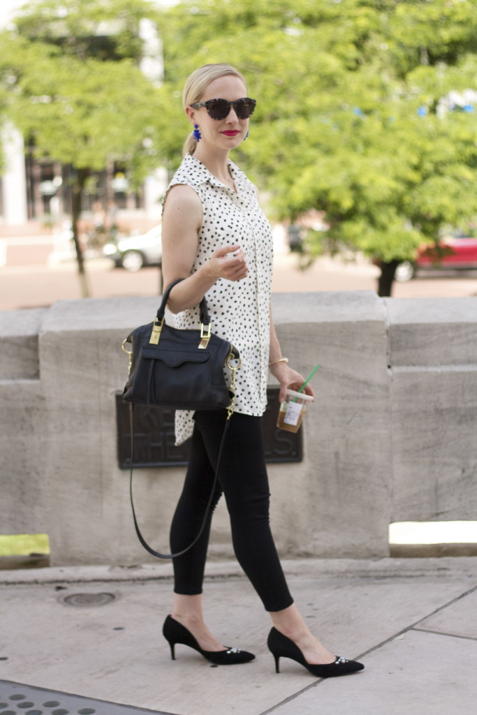 black and white outfit, polka dots, ponte pants outfit, statement earrings