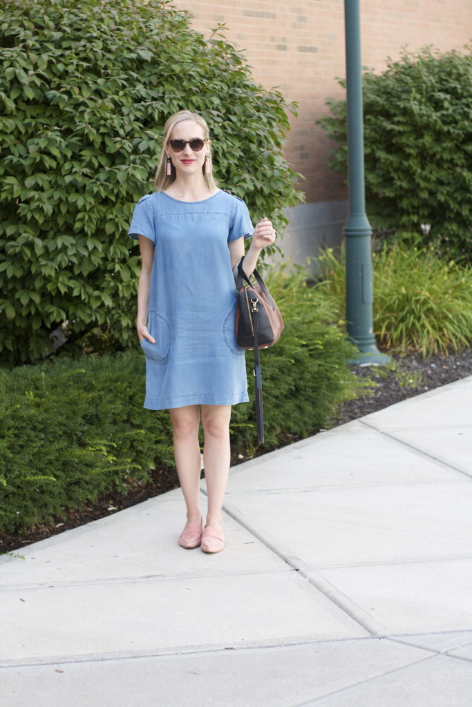 chambray dress, pink loafers, SugarFix tassel earrings, Fossil satchel