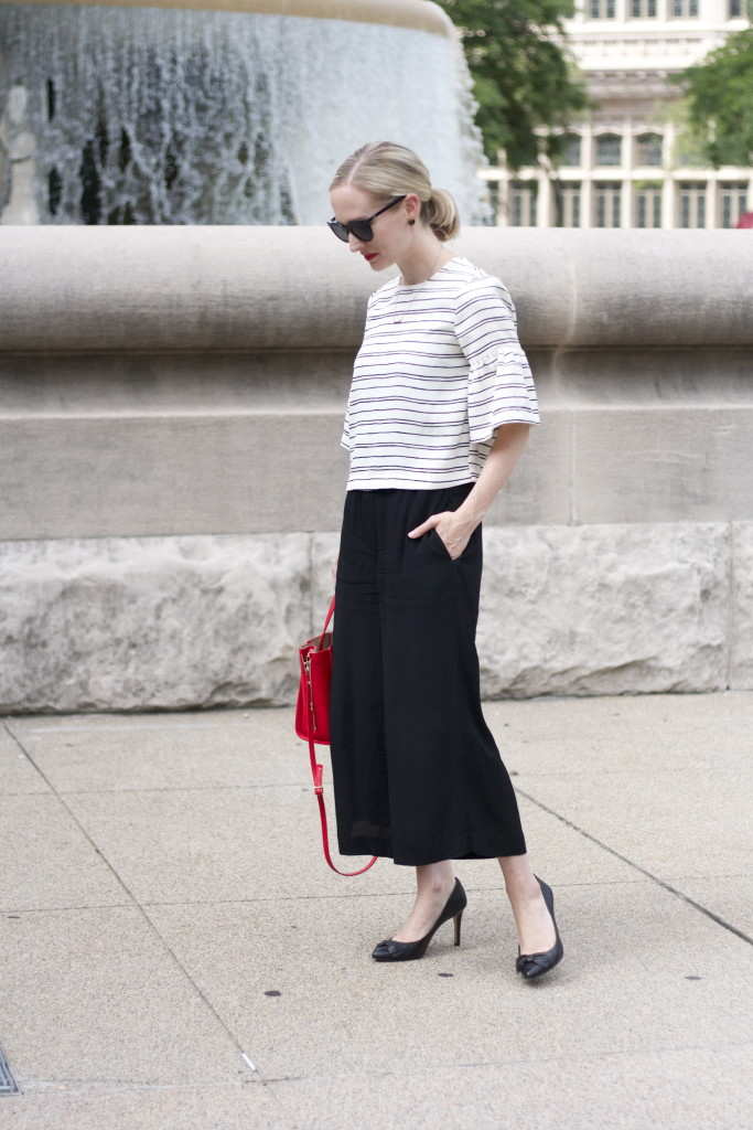 flared sleeve crop top, culottes, Cole Haan sunglasses