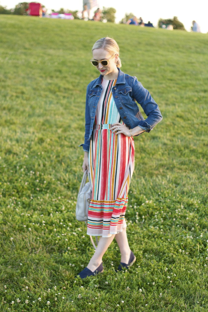 striped midi dress, cropped jean jacket, navy espadrilles