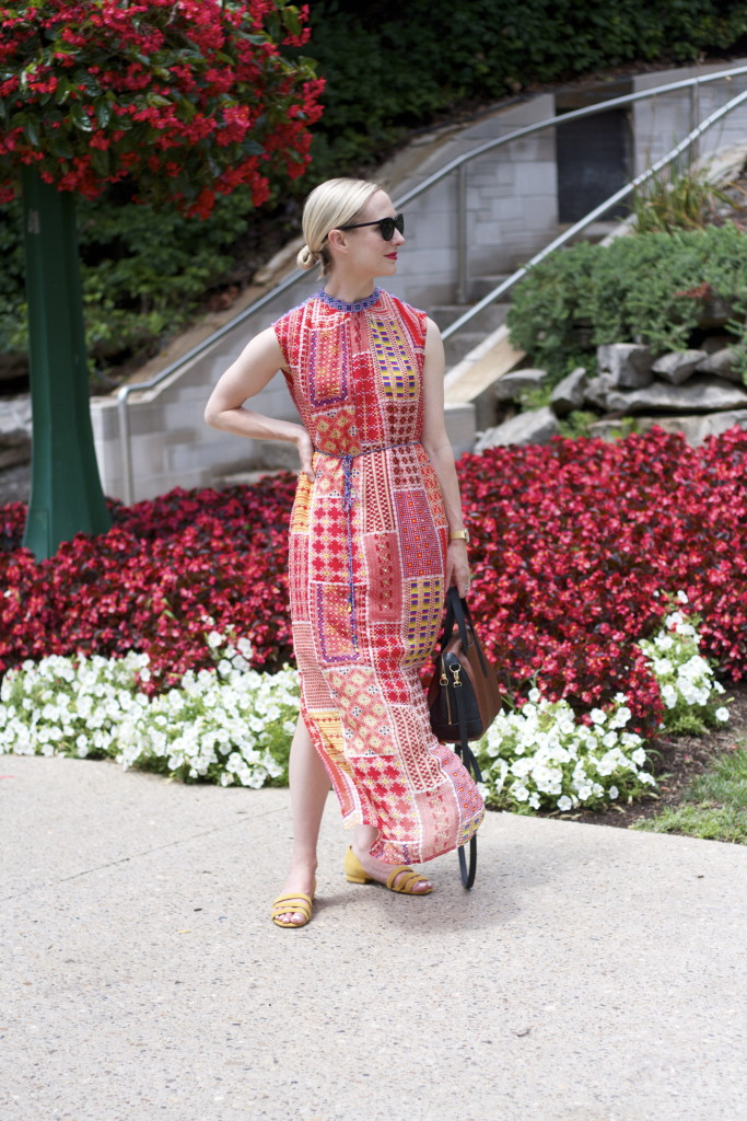 anthropologie maxi dress, silky maxi dress outfit, Madewell suede sandals, Cole Haan sunglasses