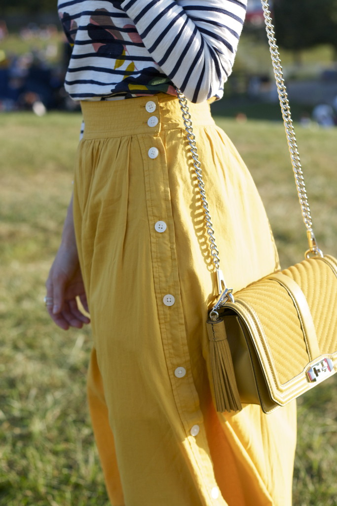 Madewell yellow midi skirt, Rebecca Minkoff suede bag