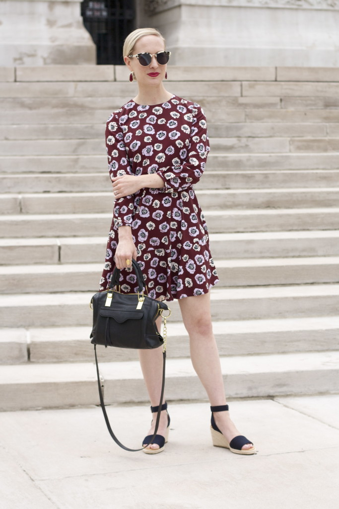 loft floral long sleeve dress, espadrille wedges, Kendra Scott fall collection
