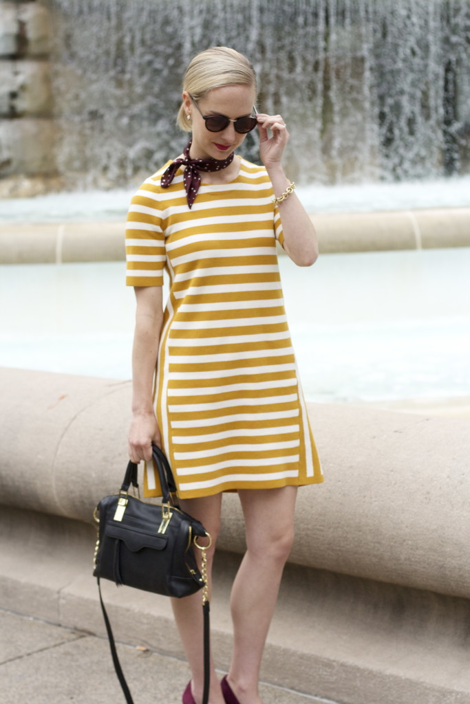 yellow stripe dress, polka dot neck scarf, burgundy and yellow, mixed prints