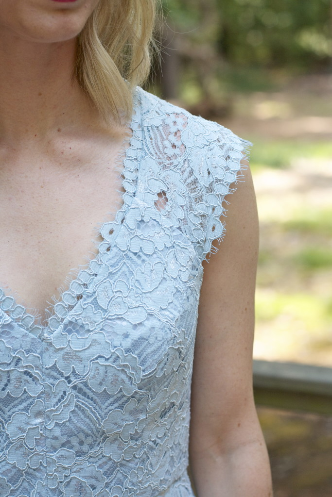 blue lace dress, nude pumps, Gigi New York uber clutch, North Carolina wedding