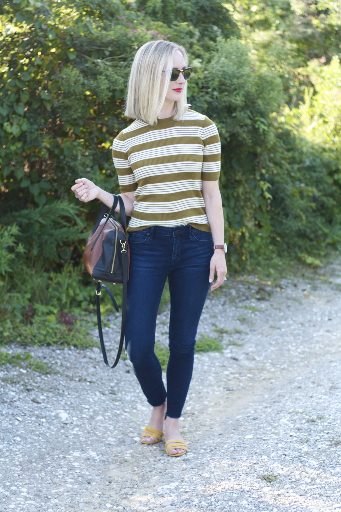madewell sweater, articles of society jeans, madewell suede sandals