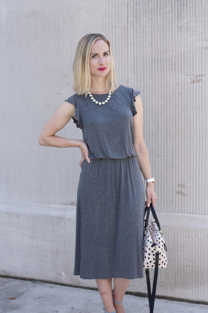 gray midi dress, blue suede block heel pumps, Kate Spade bag