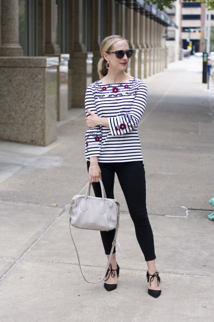 striped embroidered bell sleeeve top, ponte pants, fringe pumps, kendra scott fall collection, embroidery trend