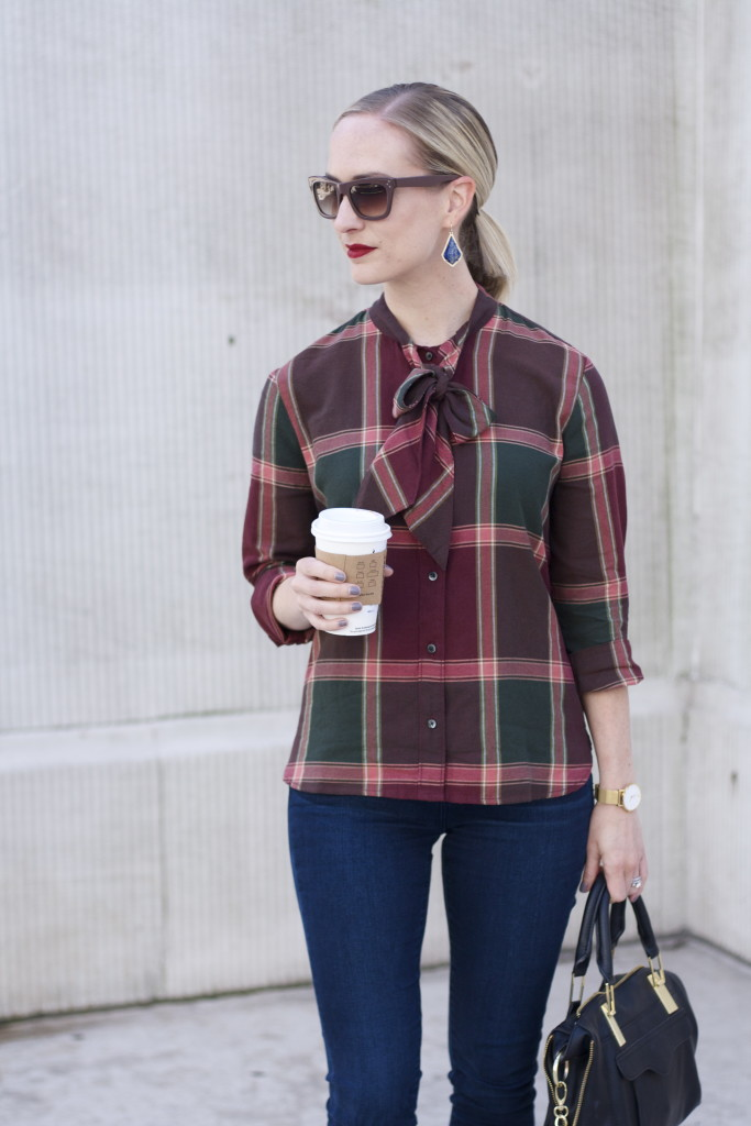 pussy bow flannel shirt, articles of society skinny jeans, ankle boots