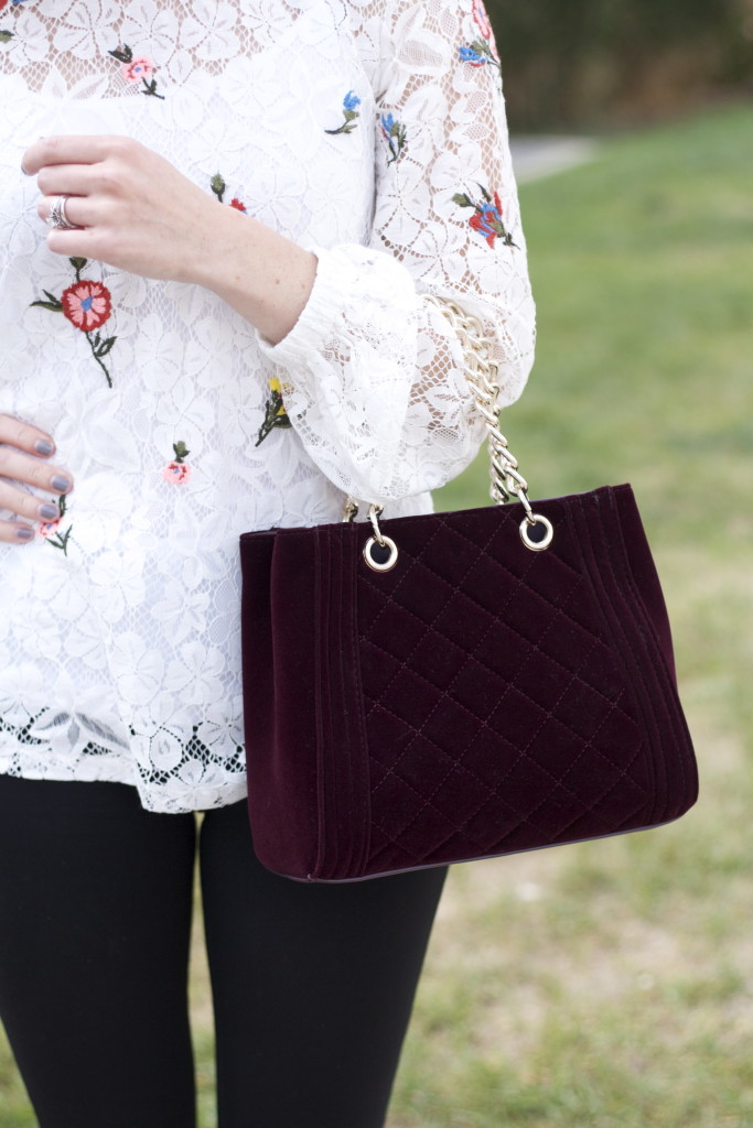 embroidered lace top, velvet handbag, ponte pants