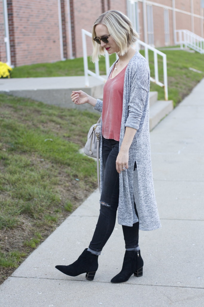 pink velvet tank, duster cardigan, gray jeans, black ankle boots
