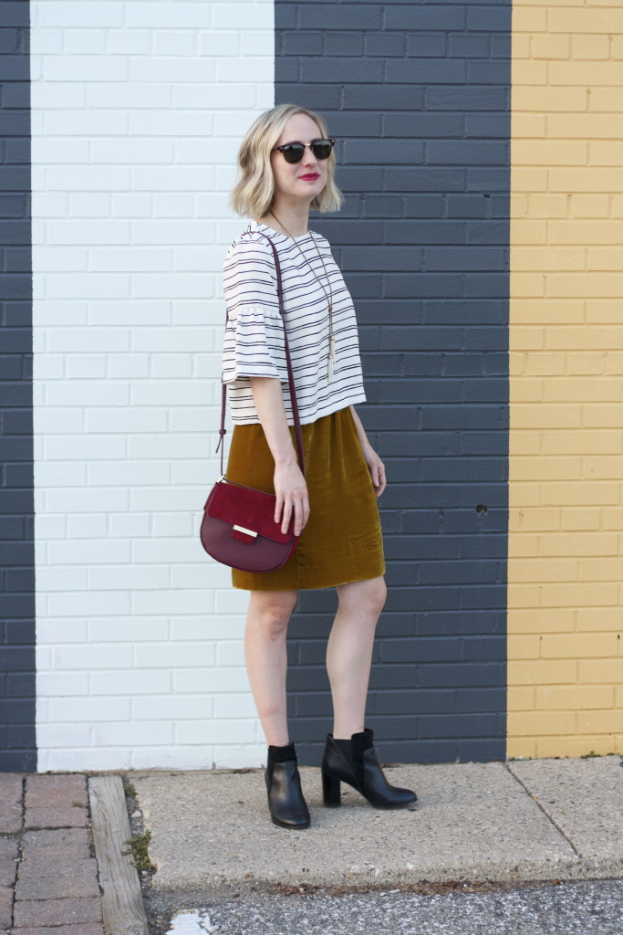 velvet skirt, bell sleeve top, skirt with ankle boots