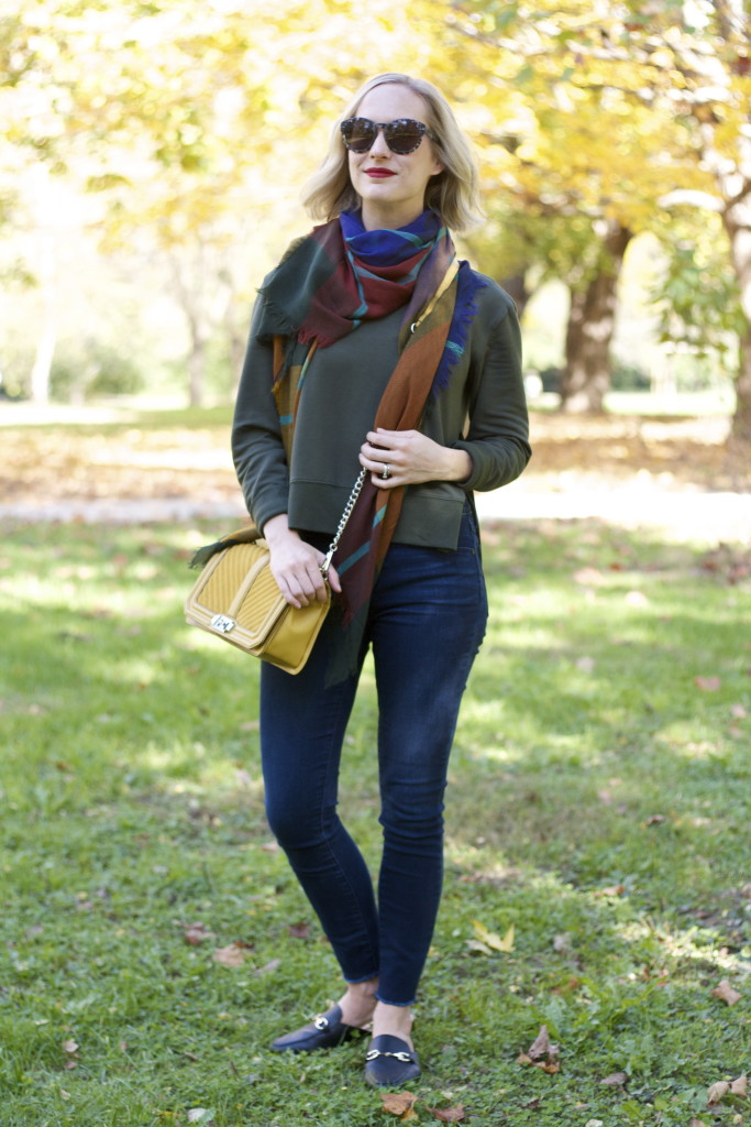 Target Joy Lab sweatshirt, plaid scarf, flat mules, Rebecca Minkoff Love bag