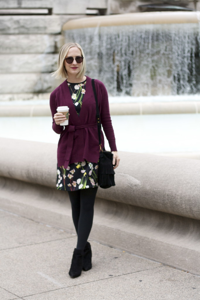 bugundy wrap sweater, floral dress with tights and ankle boots
