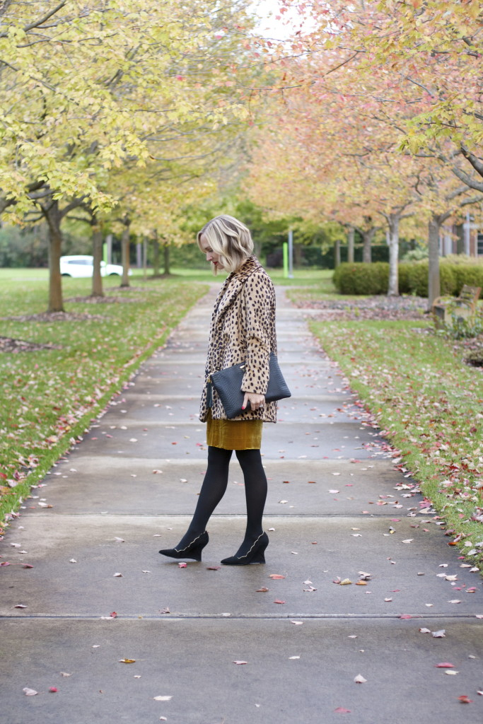 velvet skirt, wrap bodysuit, suede wedges, leopard coat