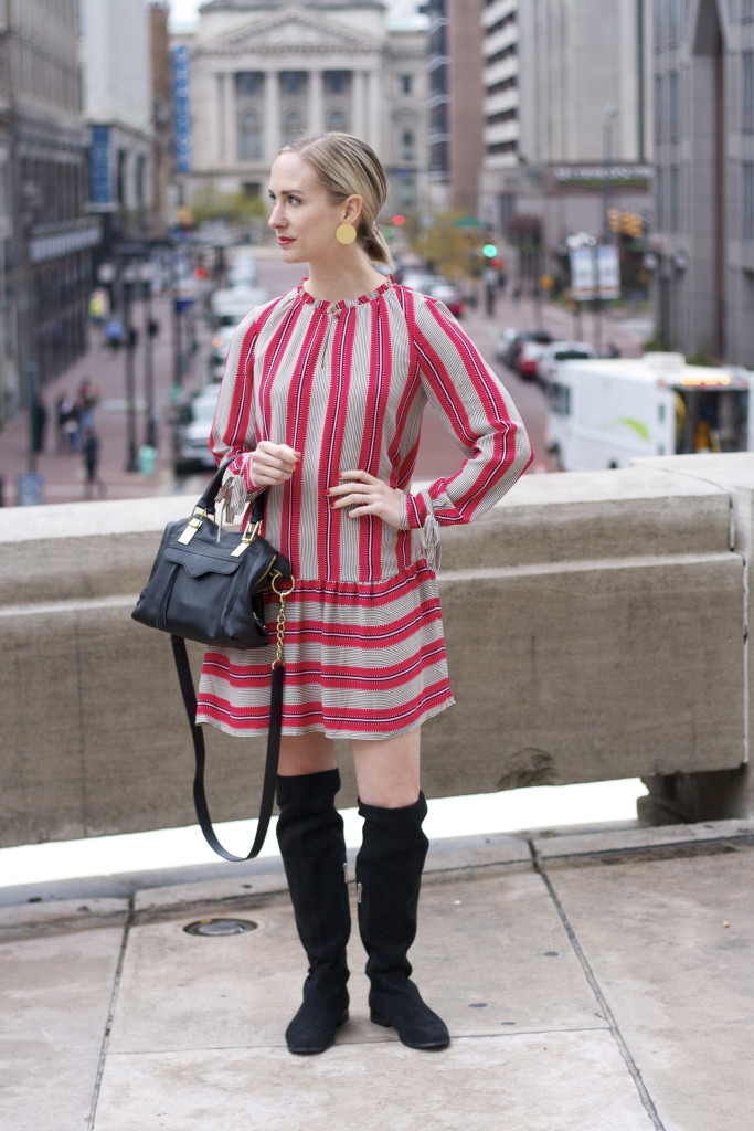 striped drop waist dress, over the knee boots, statement earrings
