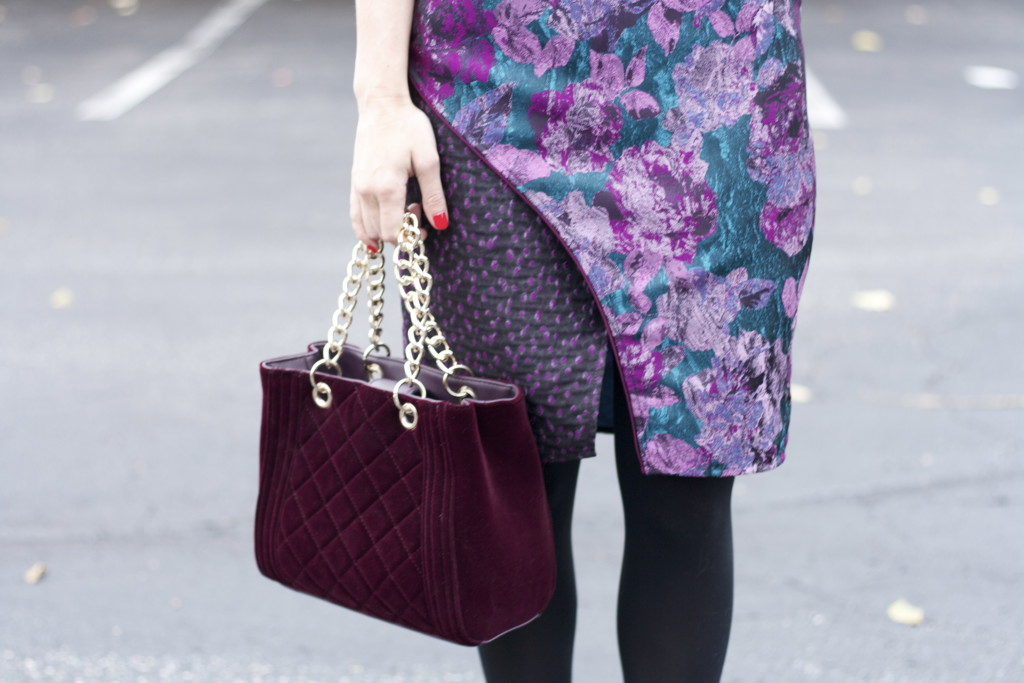 slate & willow dress, velvet bag