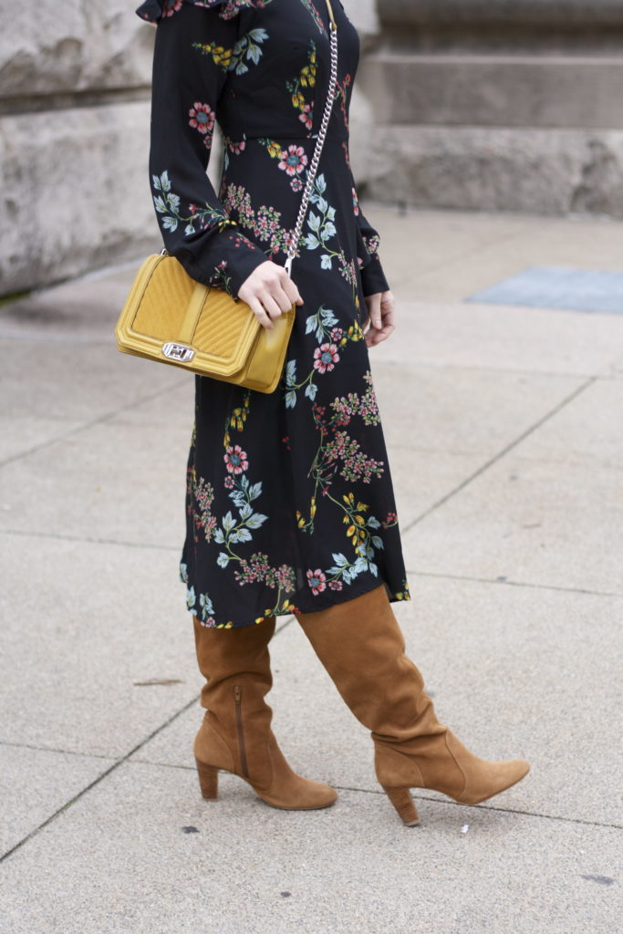long sleeve floral midi dress, tan suede boots, yellow Rebecca Minkoff love bag, 3-ball gold earrings