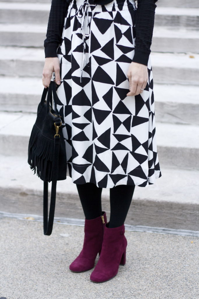 ruffle sweater, midi skirt, ankle boots