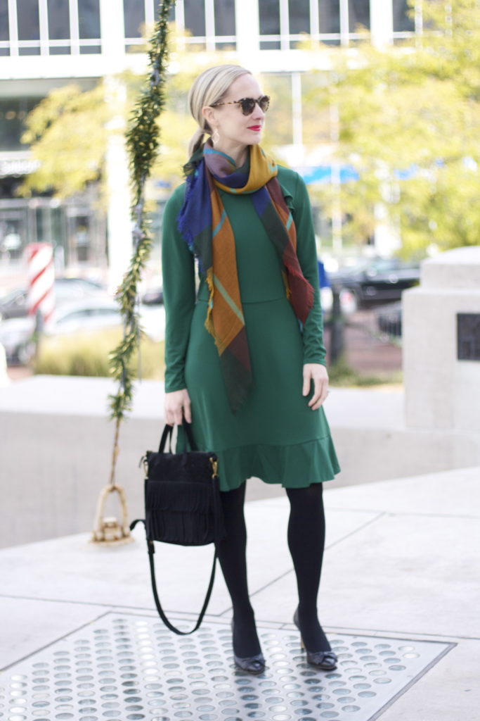 green dress, plaid scarf, bow pumps
