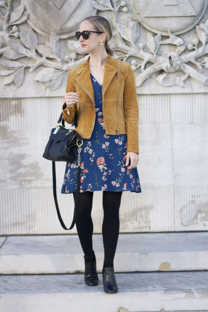 floral dress, suede moto jacket, ankle boots
