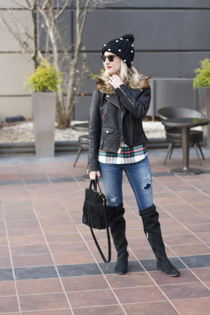 flannel shirt, faux fur collar leather jacket, OTK boots