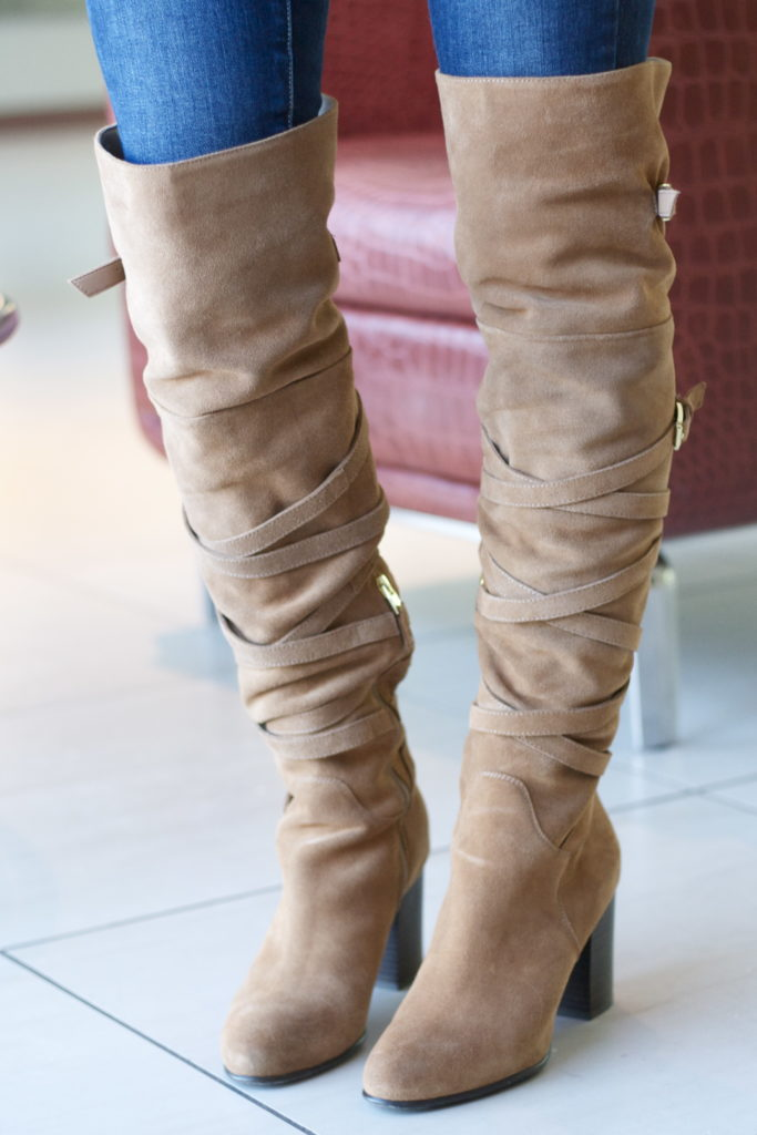 over the knee boots, tan crossbody bag, blanket scarf