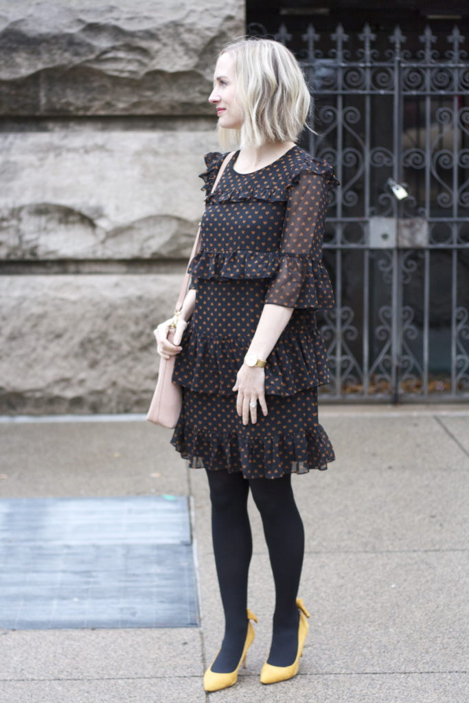 Madewell ruffle heart dress, tights, yellow suede pumps, suede transport tote