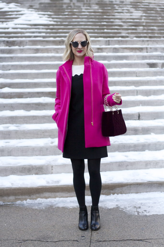 colorblock dress, pink j.crew coat, velvet bag, work outfit ideas