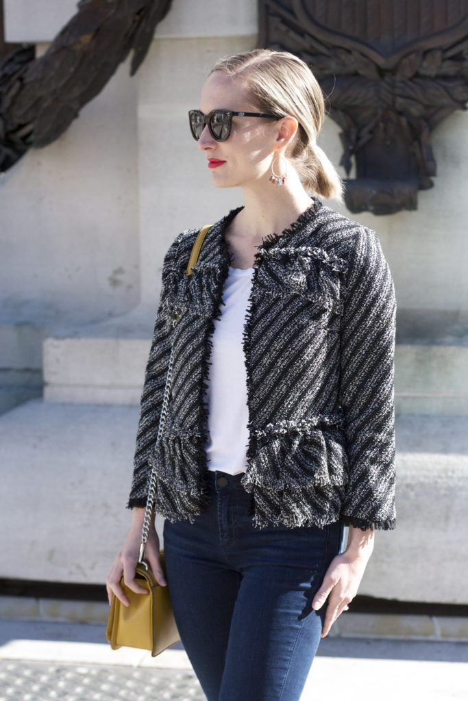 tweed ruffle jacket, cropped frayed skinny jeans, velvet shoes, Rebecca Minkoff bag