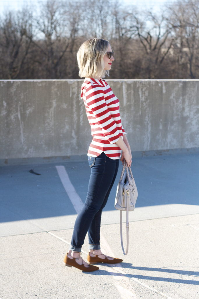 Boden mod striped top, cuffed skinny jeans, suede lace up flats