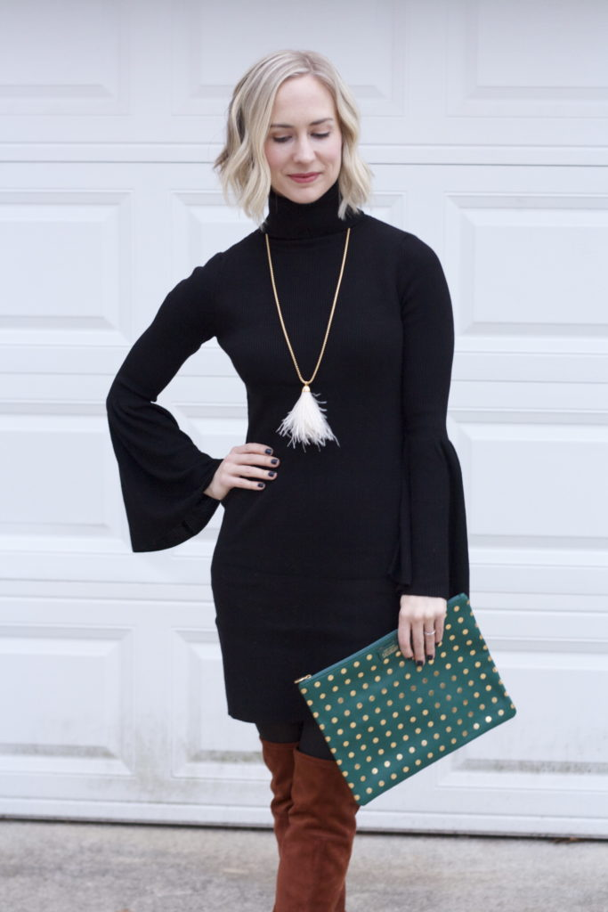 flare sleeve turtleneck dress, suede OTK boots, feather pendant