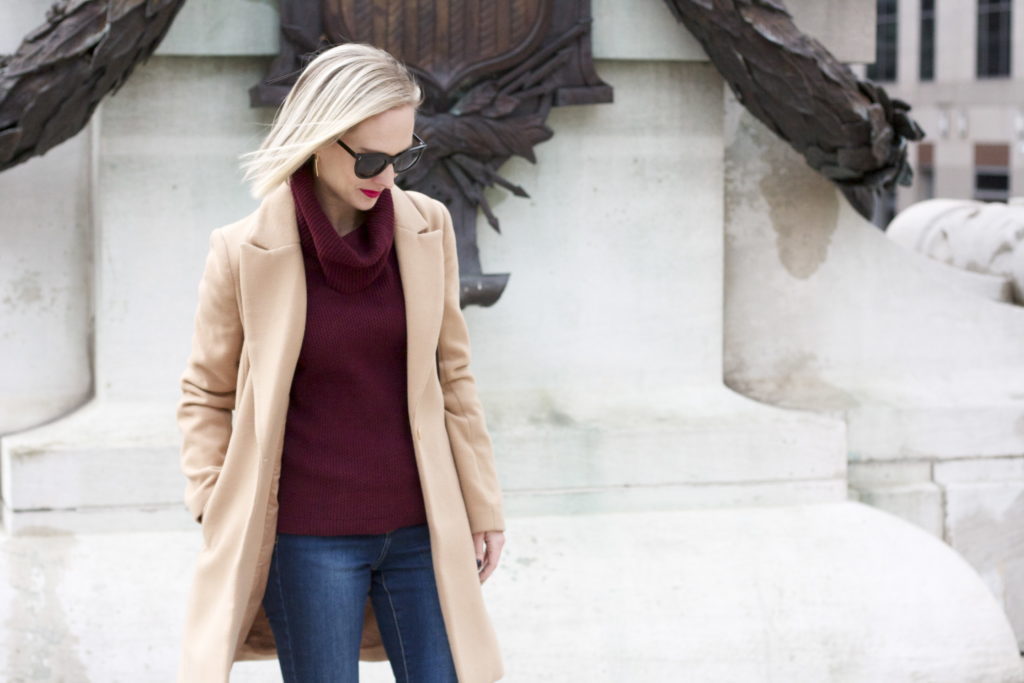 velvet shoes, camel coat, jeans day outfit