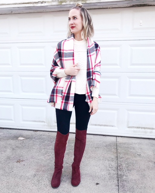 plaid blanket scarf, over the knee suede boots outfit